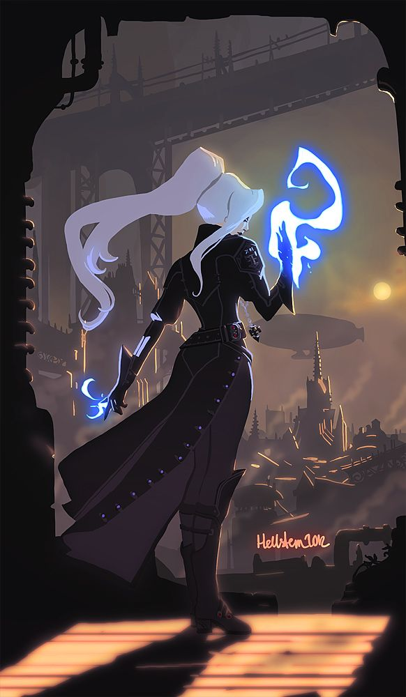 City by *Hellstern on deviantART [ female, wizard, sorcerer, steampunk ]