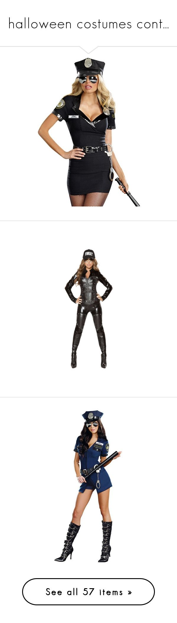 """halloween costumes cont..."" by bucketlistdiary on Polyvore featuring costumes, sexy police woman costume, police woman costume, policeman costume, police woman halloween costume, police officer halloween costume, police man costume, cop halloween costume, sexy police officer halloween costume and white costume"