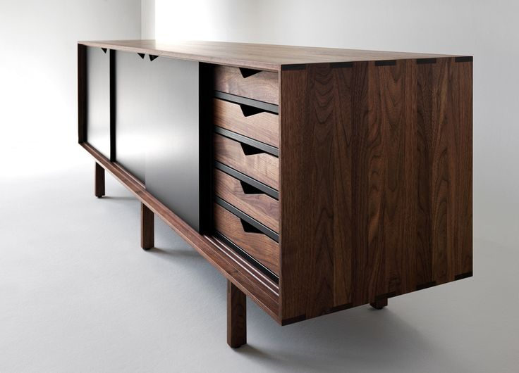 Danish design: S1Sideboard designed by ByKato and manufactured in 2011. A handmade wood cabinet with smooth sliding doors and trays. Classic craftsmanship from Denmark in a modern design, available in eight colors through Brdr. Andersen. #allgoodthingsdanish spotted by missdesignsays.