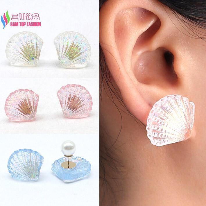 Hot venda de jóias de moda meninas projetado resina shell faux pérola ear stud brincos acessórios para mulheres brinco de meninas