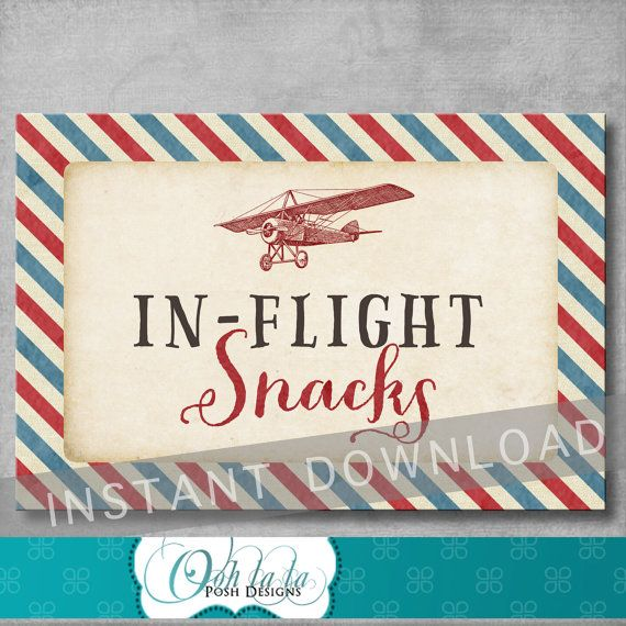 In Flight Snacks Sign  Vintage Airplane Baby by OohlalaPoshDesigns