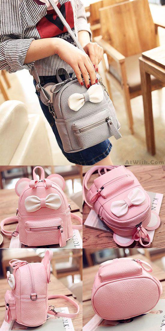 f371fb9eba27 Cute Mini Bow Kitty Ears Small Cartoon School PU Backpacks for big sale!   backpack  cartoon  bag  school  bow  Kitty