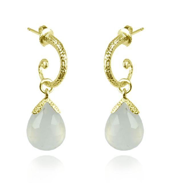 Vermeil White Chalcedony Earrings