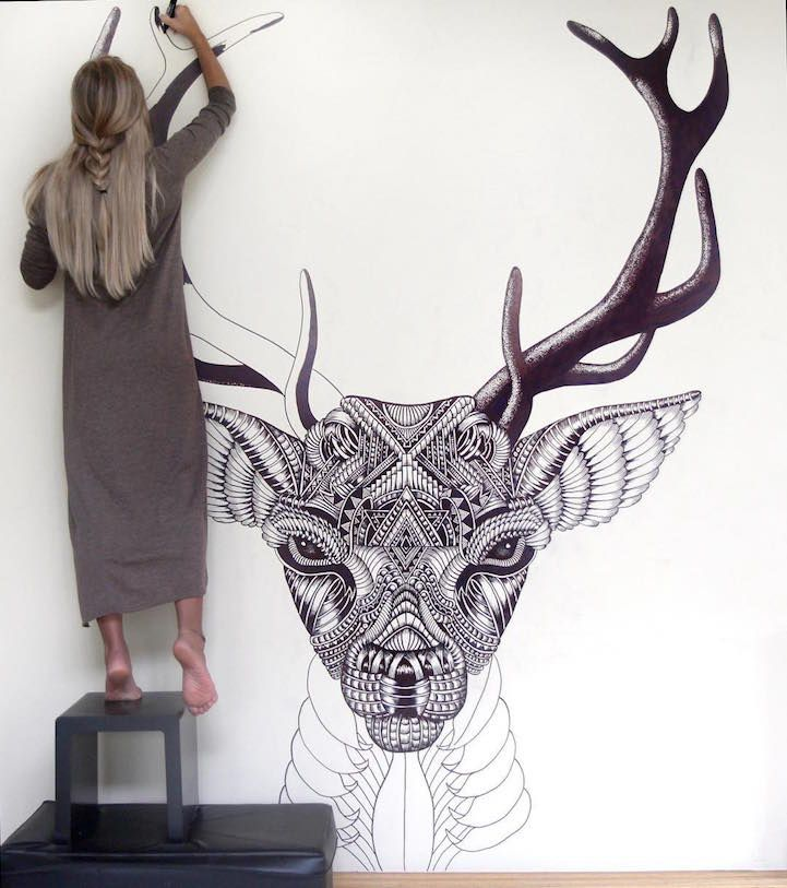"""UK-based artist Faye Halliday creates art that's inspired by a combination of her travels, her attempts to inspire love, creativity, and adventure in others, and her desire to understand and capture beauty. She uses ink and intricate patterns to create elaborate portraits of animals and symbols. """"I've always been inspired by beauty. Never on a superficial level, but more so as a concept; an interpretation and what it means to different people."""" Halliday calls the journey of her art Haathi…"""