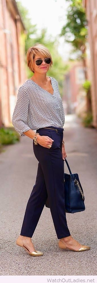 Cool office look, love the flats. Shirt is a little too big for my taste.
