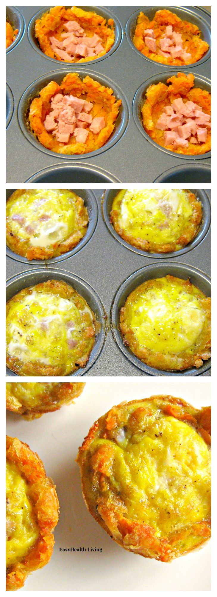 Sweet Potato Breakfast Cups  What could be more delicious that a grab-and-go breakfast made from sweet potato tots?