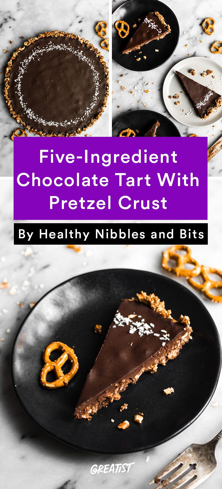 4. 5-Ingredient Chocolate Tart With Pretzel Crust #greatist http://greatist.com/eat/gluten-free-holiday-desserts-that-will-save-you-some-cash