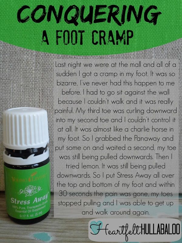 Conquering a foot cramp. I never would have thought that Stress Away would have worked for my random foot cramp. This is one of those situations where I was so glad that I had my oils with me! Heartfelt Hullabaloo #youngliving #essentialoils