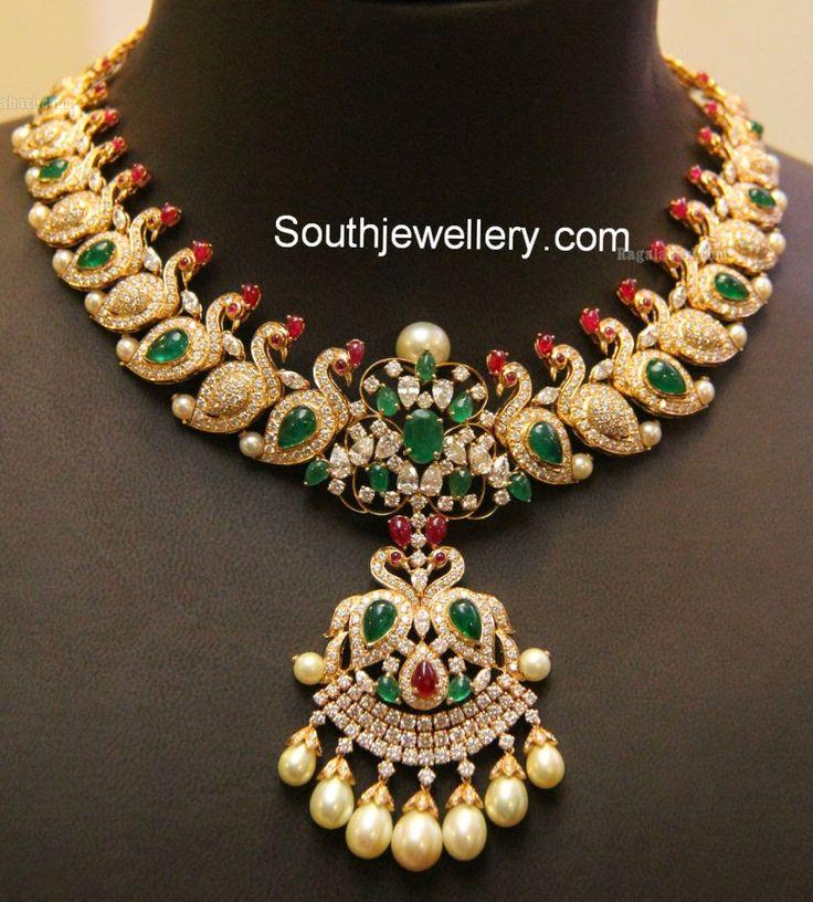 diamond peacock mango necklace