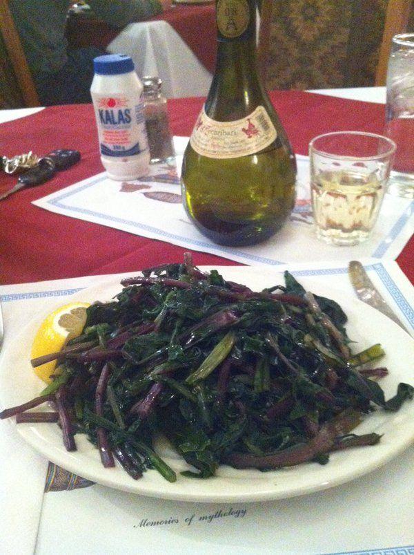 Dandelion greens and #Kechribari retsina wine! I'm in Greek heaven!