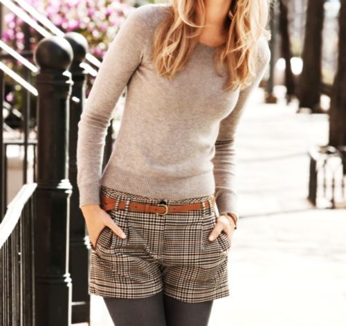 plaid shorts with tights - love.