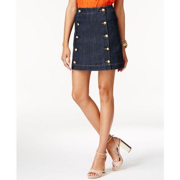 Michael Michael Kors Embellished Denim Mini Skirt ($98) ❤ liked on Polyvore featuring skirts, mini skirts, premiere indigo, white mini skirt, white skirt, denim miniskirt, denim skirts and white denim skirt