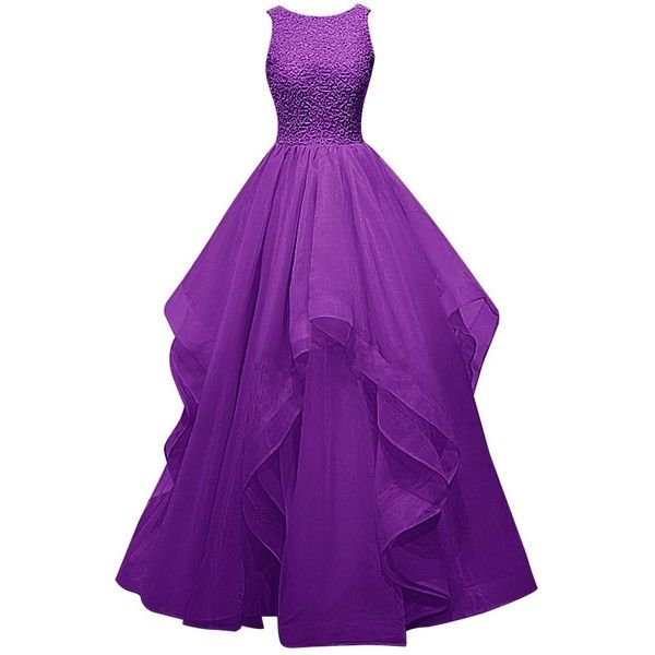 Dresstells Long Prom Dress Asymmetric Bridesmaid Dress Beaded Organza... (€110) ❤ liked on Polyvore featuring dresses, gowns, beaded gown, purple prom dresses, long evening dresses, bridesmaid dresses e long gowns