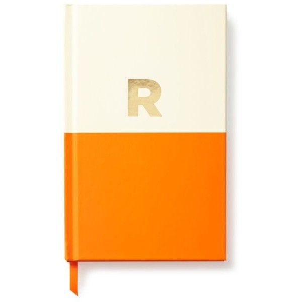 Kate Spade New York Orange Dipped Initial Collection - Journal R found on Polyvore featuring home, home decor, stationery и orange