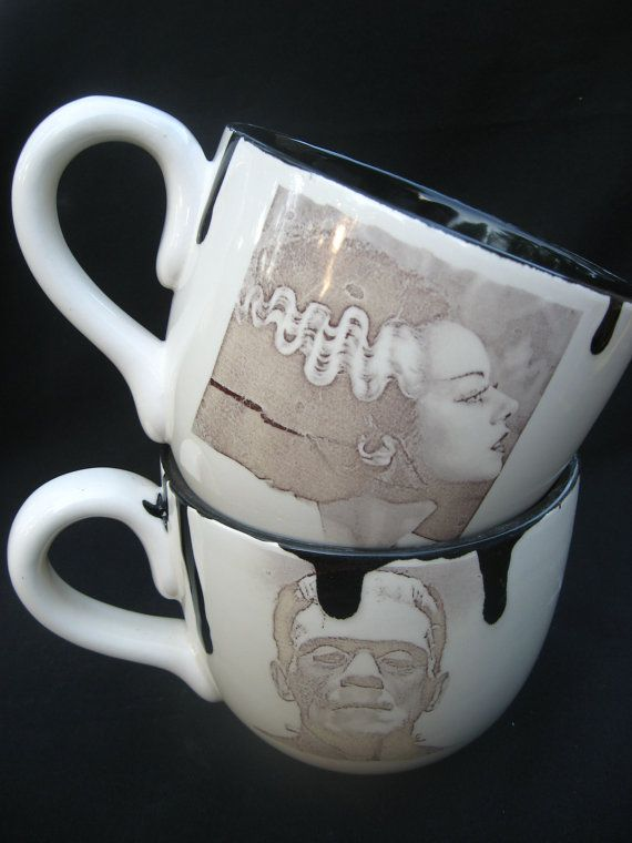 """Frankenstein & Bride of Frankenstein Wedding or Halloween Set. The only """"his and her"""" cups I will ever consider. I CALL THE BRIDE."""
