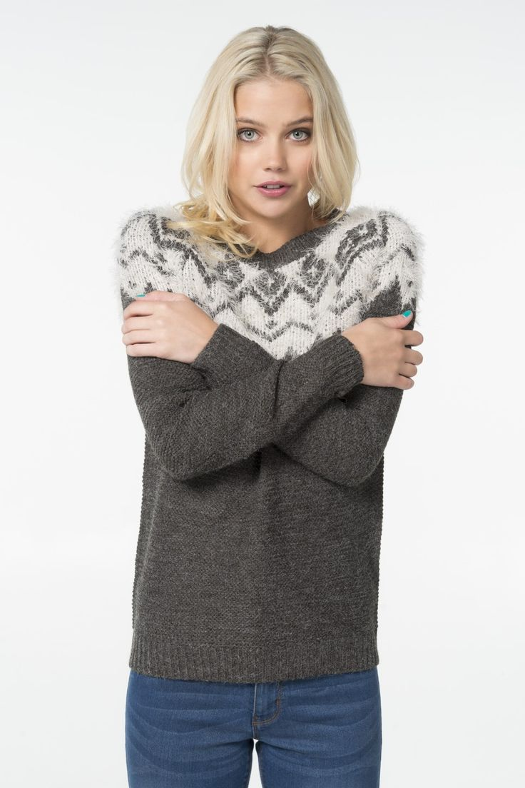 Charcoal & ivory fuzzy knit sweater