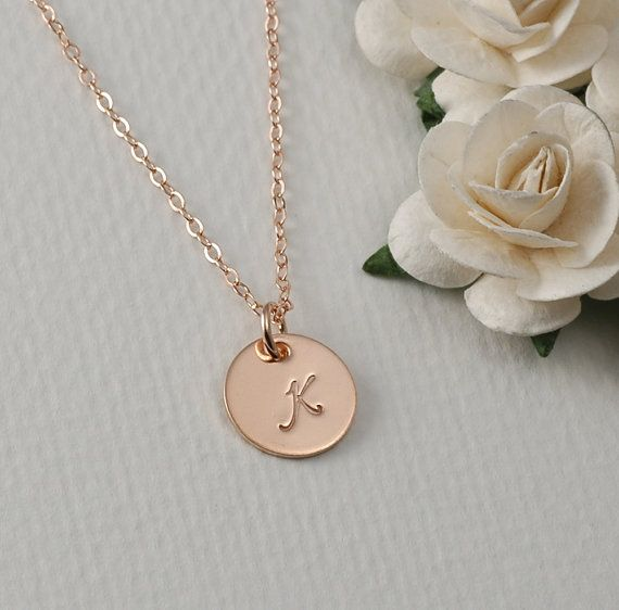 SALE  Rose Gold Initial Necklace Layering by divinestampings
