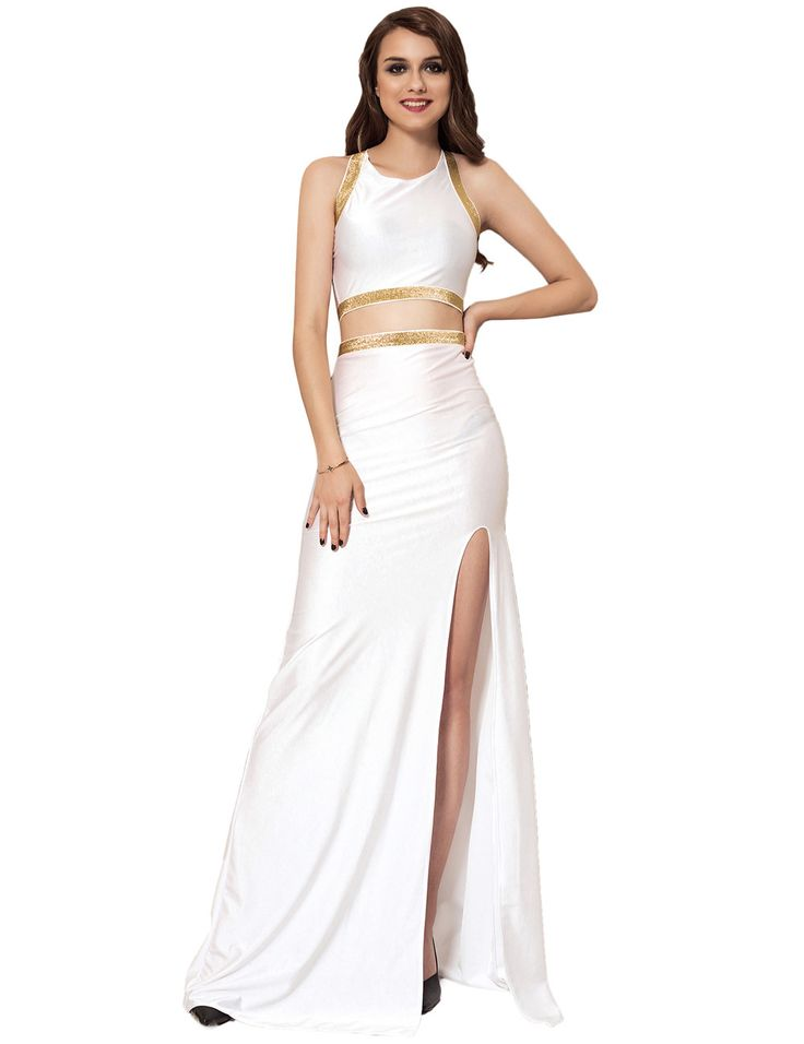 Plus Size 2pc White & Gold Maxi Formal Dress Criss Cross Back Party Gown