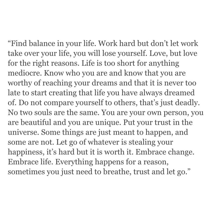"""Find balance... breathe, trust and let go."" I love this, from beginning to end."