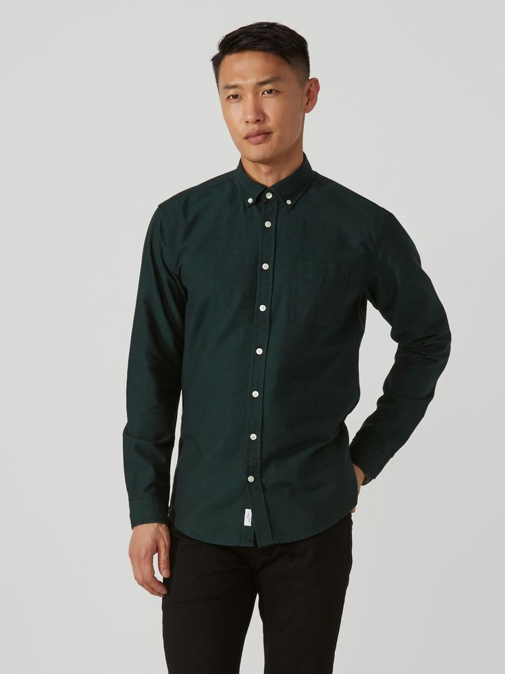 The Jasper Marled-Cotton Oxford Shirt in Green   Frank And Oak