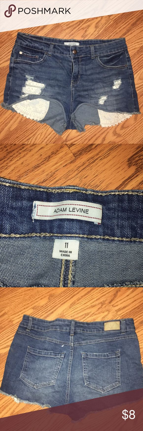 Ripped lace jean shorts Very cute jean shorts Adam Levine Collection Shorts Jean Shorts