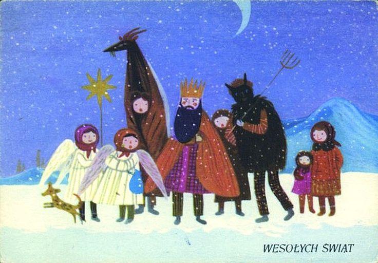 Maria Mackiewicz-Adamus (1927-2004) — Wesołych Swiąt  'Kolędnicy',  1960   (800x557)