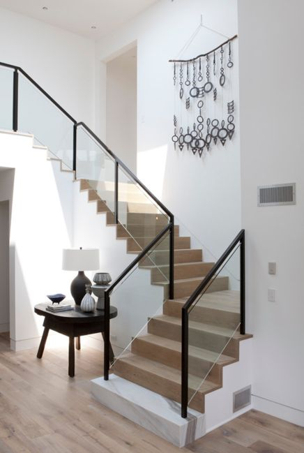 White oak stair. Exposed risers and tread.