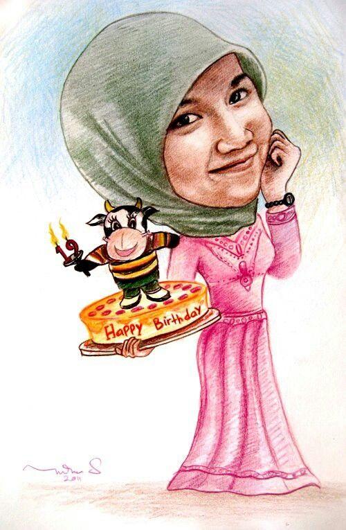 Birthday caricature, karikatur online, jasa karikatur lucu