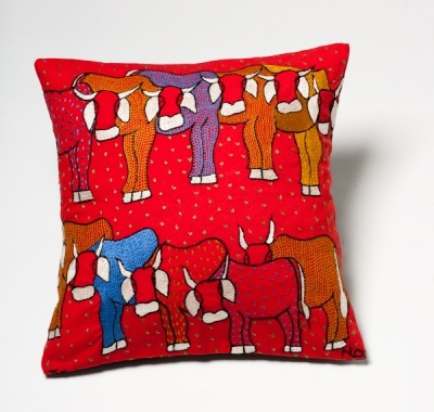 Keiskamma cows embroidered cushion cover