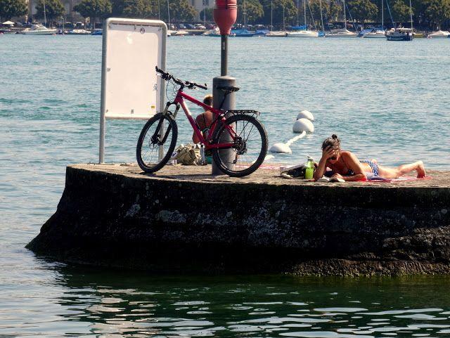 Lady sunbathing in the Enge Harbour in Zurich, Switzerland
