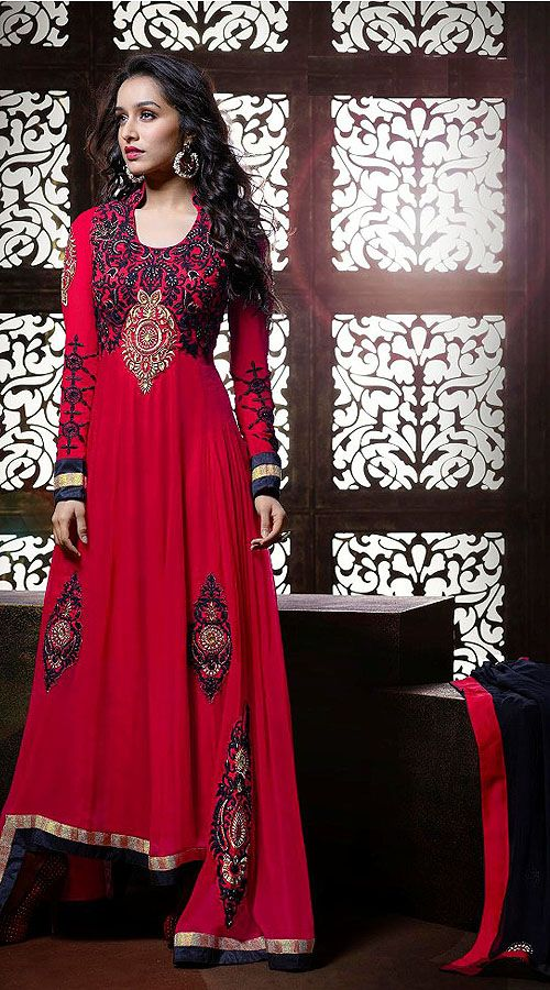 Shraddha Kapoor Red Georgette Bollywood Salwar Kameez