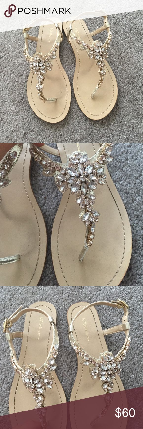 BCBGeneration Rose Gold Jewel/Sparkle Sandals GORGEOUS BCBGeneration Rose gold jewel sandals - I wore these super briefly while getting ready for my wedding day, still in like new condition. True to size. No trades! BCBGeneration Shoes Sandals
