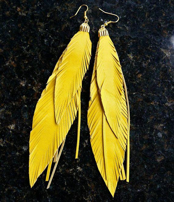 Leather Feather Earrings Long Fringed Earrings Bohemian by TZain, $22.00