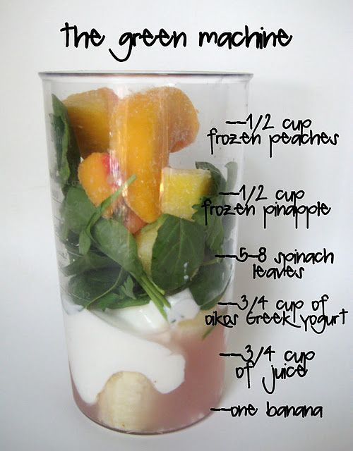 The green machine! Drink this daily and watch the pounds come off without fuss. An alternative recipe is 2 handfuls of baby spinach, 1 cup of chunk pineapple, 2 bananas, 1 cup of yogurt and 1 cup of filtered water. Blend well and enjoy!.