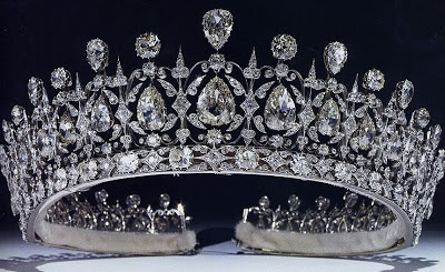 The Fife Tiara - It first belonged to Princess Louise of Wales, the oldest daughter of King Edward VII and Queen Alexandra. When she married the Earl of Fife in 1889, she received quite a waterfall of sparkling presents; this stunning tiara with pear-shaped diamonds hanging freely in a diamond framework, topped with more pear-shaped diamonds alternating with round diamonds, was among them. It is thought to be the work of Parisian jeweler Oscar Massin.