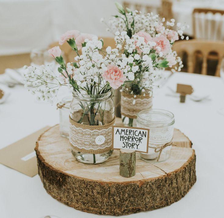 Wedding centerpiece: jam jars Hessian lace on block slices #lacew …