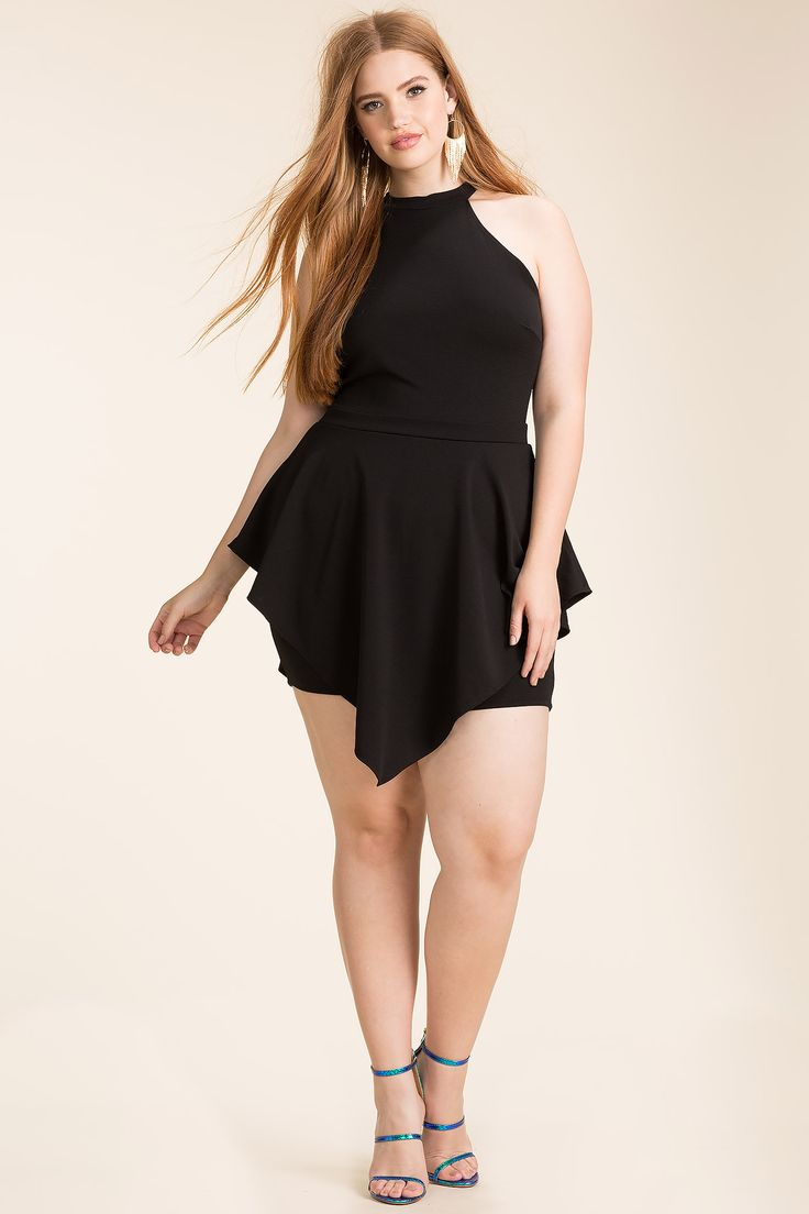 Women's Plus Size Rompers | Necessary Halter Hankey Romper | A'GACI