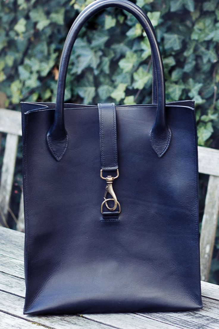 Hand stitched black leather tote by Florine Leather & Style