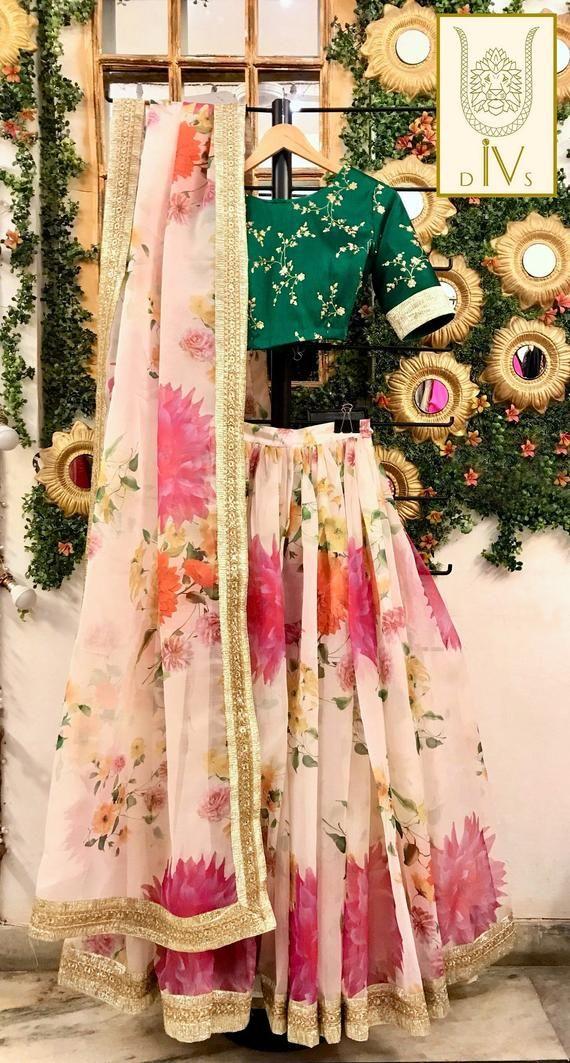 Indian wedding lehenga, floral party wear designer chaniya choli, Indian bridesmaid dress, ethnic clothes from India, printed organza lengha