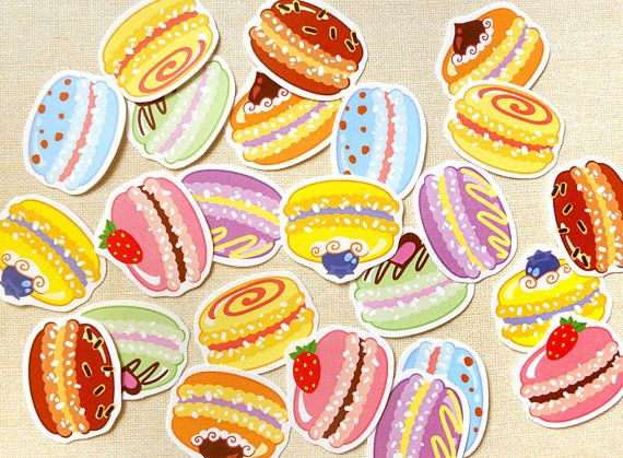 Colorful Macaron Sticker Flakes Pack of 24  by BeagleCakesArt