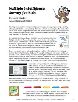 FREE Multiple Intelligence Survey for Kids - Laura Candler - TeachersPayTeachers.com