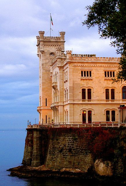 ~Castello di Miramar, Trieste, Italy  Beautiful castle on coast with great gardens around it~