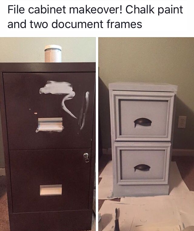Metal file cabinet makeover - Posted from a FB page I follow.