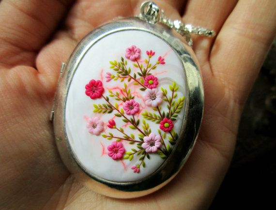 Made to Order - Sakura Pendant Photo Locket Flowers Gently Medallion for Memories Vintage Locket Polymer clay Necklace Pesonalized Necklace