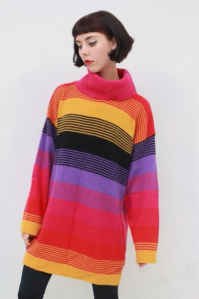 Vintage 80s Retro BRIGHT Stripe LAMBSWOOL ANGORA Knit Tunic Jumper AUS 12 14 M L