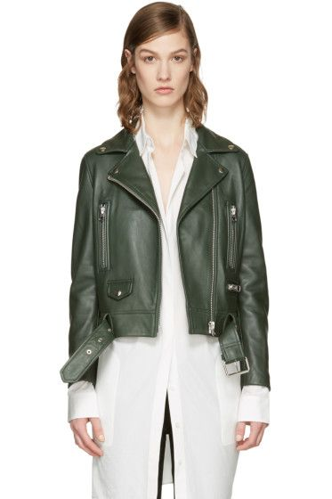 Acne Studios - Green Leather Mock Jacket http://beautifulclearskin.net/category/no-more-acne/