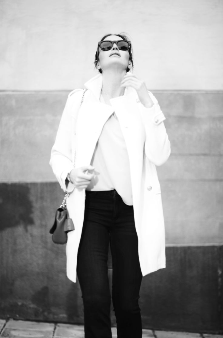 Carolina Gynning wearing Busnel coat and MiH Jeans, Prada.