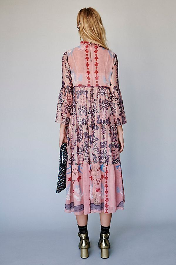 eff1db9c5 Feathers and Foliage Midi Dress - Sheer Pink Midi Dress with Long Sleeves  and Ruffled Neck, featuring Intricate Floral Embroidery - Feminine Dresses  - Party ...