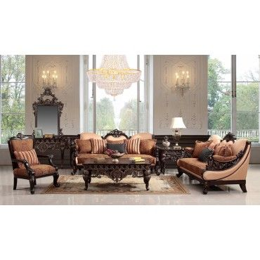 Homey Design European Luxury Fabric 3pc Living Room Set