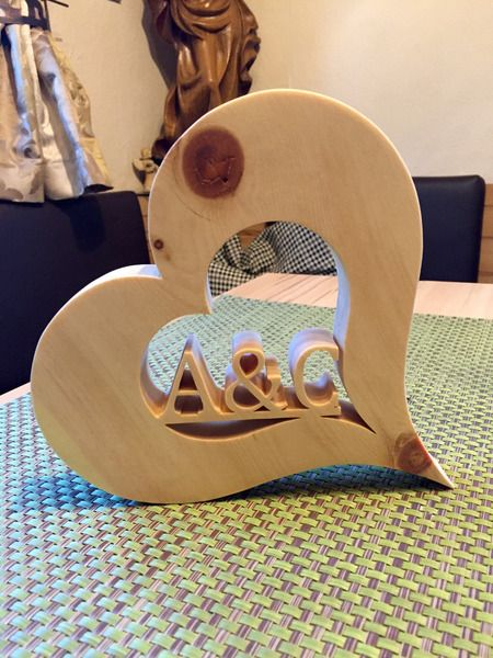 Letters & Lettering – Heart of pine wood with YOUR initials – a unique product by zirbenjohnny on DaWanda